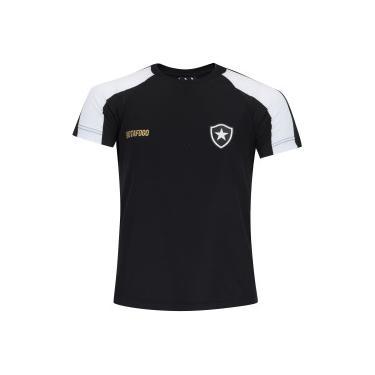 Camiseta do Botafogo Base Raglan - Infantil - PRETO BRANCO Braziline 01d450ec6d58a