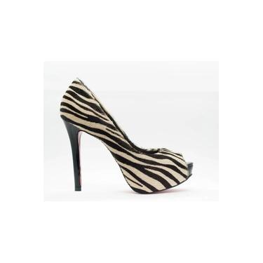 Peep Toe Salto Fino 12cm Pelo Zebra CBK
