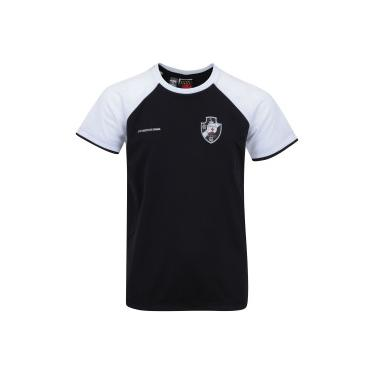 2107ec08d5 Camiseta do Vasco da Gama Less Raglan - Infantil - PRETO BRANCO Braziline