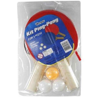 Kit Para Ping Pong 2 Raquetes E 3 Bolinhas Kp-55 Western