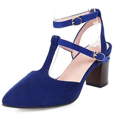 SaraIris sandália feminina salto grosso com tira em T, sandália de salto fino, bico fino, fivela no tornozelo, sapatos para festa, casamento, Azul, 6.5