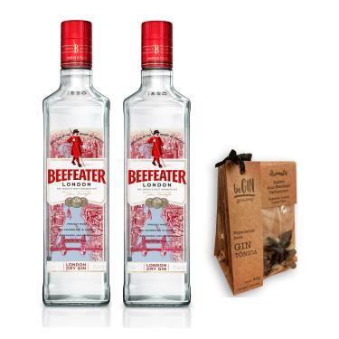 Kit 2 Gin Beefeater 750ml + Especiarias para Gin e Tônica Begin