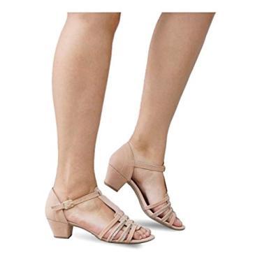 Sandália Feminina Salto Baixo Grosso Lilha Shoes 20440 (38, Nude Nobuck)