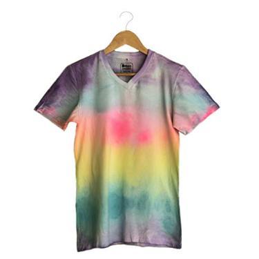 Camiseta baby look feminina Tie Dye gola v 100% Algodão Sustentável (M)