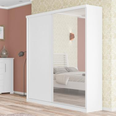 Guarda Roupa Virtual com Espelho 2 Portas de Correr 3 Gavetas Robel - Branco a3c841a7176c6