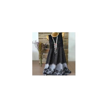 Vestido de moda feminino vestido sem mangas estampado de renda patchwork oco túnica