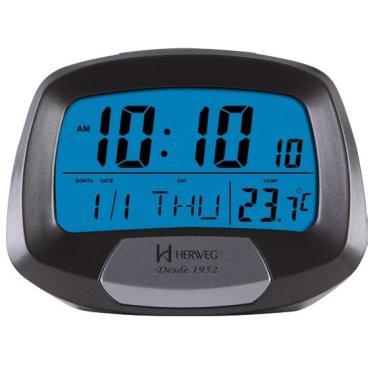Imagem de Relógio Despertador Digital Termômetro Herweg 2977 071 Cinza