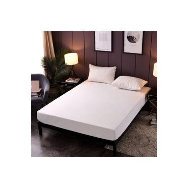 Imagem de Kit Lençol para Cama de Queen em Percal 180 Fios Com Porta Travesseiro Matelado ultrassônico Branco