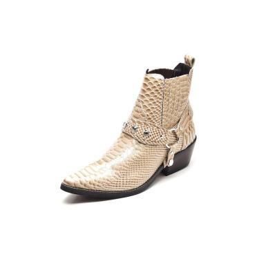 Bota Country Masculina Bico Fino Top Franca Shoes Dourado  masculino