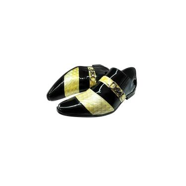 Imagem de Sapato Masculino Couro Preto Verniz com Ouro Branco Ref: 317