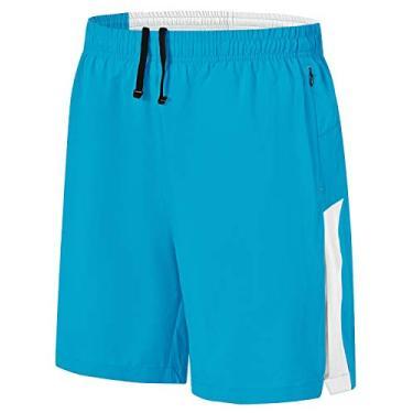 Imagem de Shorts de corrida masculino Rdruko para treino e secagem rápida, shorts leves para academia com forro de malha, Azul, Large