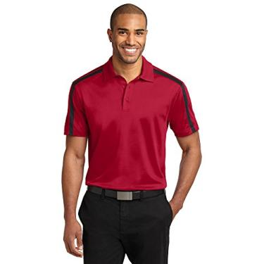 Camisa polo listrada Port Authority Silk Touch Performance Colorblock, Red/ Black, 4XL
