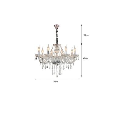 Lustre Valentina Cristal Transparente 8 braço e14- Hevvy - SL-5834/H8 CLEAR