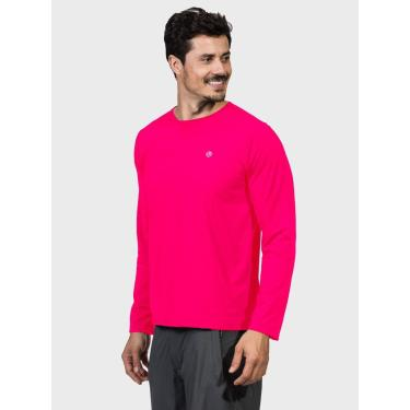 Camisa Uv Masculina Longa Com Proteção Solar Extreme Uv New Dry Flúor Coral - P