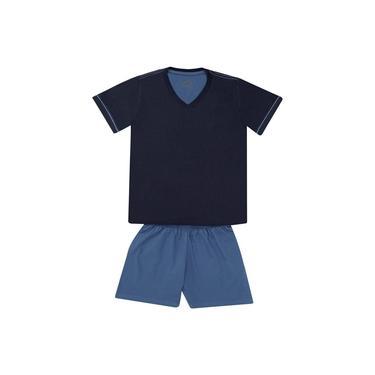 Pijama Masculino Lupo Curto Comfort 100% Algodão Gola V Azul