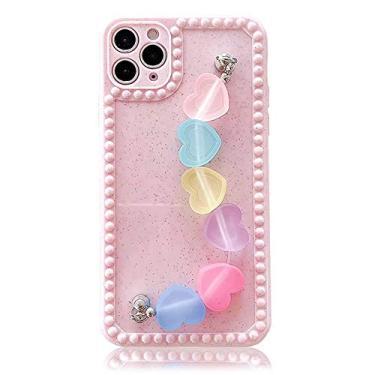 SGVAHY Capa para telefone com pulseira compatível com iPhone 11 Pro, capa protetora à prova de choque com corrente de cores doces fofas de silicone macio bumper capa protetora (rosa, iPhone 11 Pro)