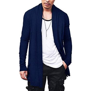 Cardigan Masculino Estilo Slim Confortável Sobretudo Blazer – Slim Fitness – Azul Marinho EGG