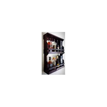 Imagem de Bar de Parede Rústico Barzinho Para 8 Garrafas Madeira Maciça Adega Suporte Para Bebidas Cerveja