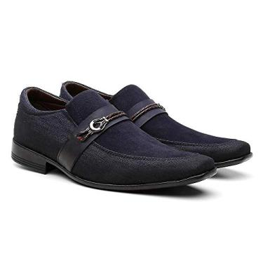 Sapato Social Masculino, Casual Bkarellus,Azul Marinho, 40