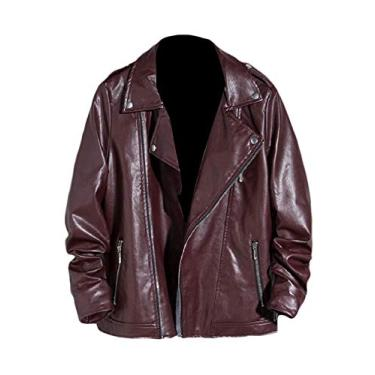 Doufine Jaqueta masculina casual plus size com zíper folgado motociclistas estilo aviador de couro PU, Vermelho, L