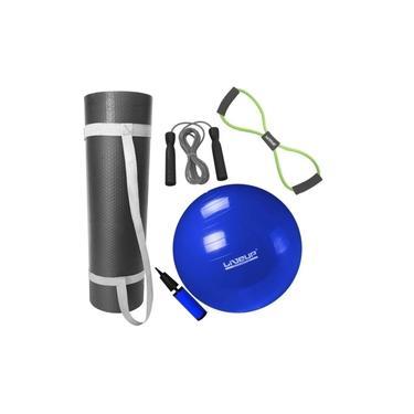 Kit Bola Suica 65cm + Colchonete 1m + Extensor Tensao Media + Corda Pular
