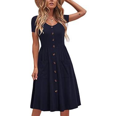 Liyinxi Vestido casual de verão com gola V e botões de algodão e bolsos, Azul marinho, Medium