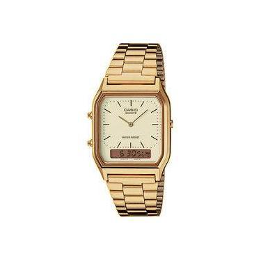 d1a305b1a8b Relógio Casio Unissex Vintage Aq-230ga-9d Dourado Anadigi