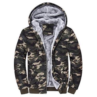 UUYUK moletom masculino de lã outono inverno com capuz capuz zíper jaqueta bomber casaco de beisebol, 1, Small