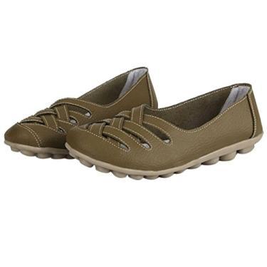 WenHong sapato mocassim feminino casual com recorte de couro sapato sem salto mocassim sandália, Caqui, 7.5