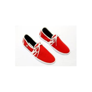 Sapatênis Feminino Polo Clássica Casual Caminhada Conforto Vermelho