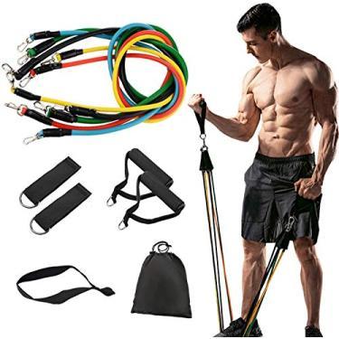 Kit Tubing 11 peças Elástico Extensor Exercicio Funcional