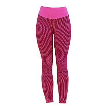 Imagem de shamjina Calça legging feminina para ioga, academia, push up, roupa esportiva, rosa, P