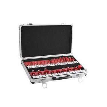 Imagem de Jogo Fresa Para Tupia 24 Peças  Vermelha 680400 Lee Tools