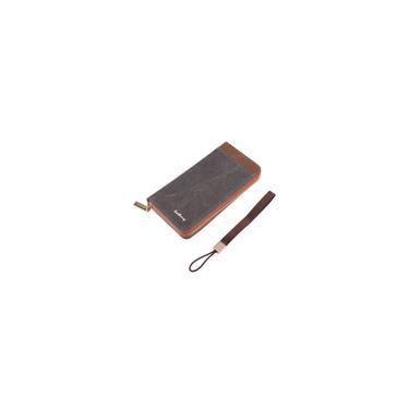 Prtico Multi-funcional a longo lona portadores de Carto de homens carteira de New Vintage