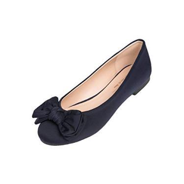 Sapatilhas de balé femininas Feversole com bico redondo e lindo acabamento em laço, Navy Twist Bow, 7.5