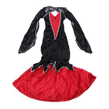 Imagem de Fantasia de vampiro rainha do cupim da Nuobesty, fantasia de bruxa de Halloween, capa para adulto, vestido de fantasia retrô renascentista