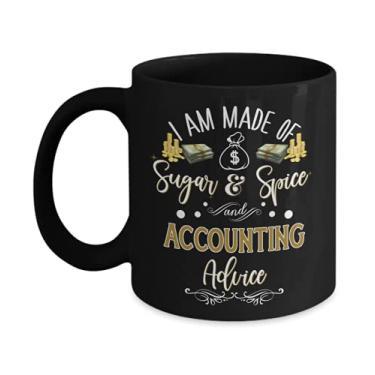 Imagem de Caneca de contador para mulheres Funny Sugar and Spice and Accounting Advice Thank You, ideia de agradecimento para auditores 38 ou 425 g, cerâmica preta Sassy Office C