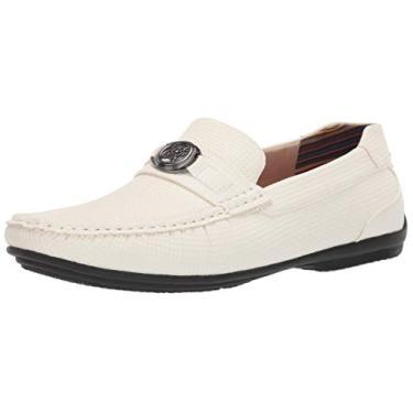 Sapato masculino de enfiar sem cadarço para dirigir da Stacy Adams, Branco, 8.5