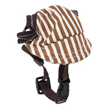 ibasenice Cachorro de estimação cachorrinho Boné de beisebol de malha com viseira Chapéu de sol Tira ajustável para o queixo Sunbonnet com orifícios para as orelhas - tamanho S (café)