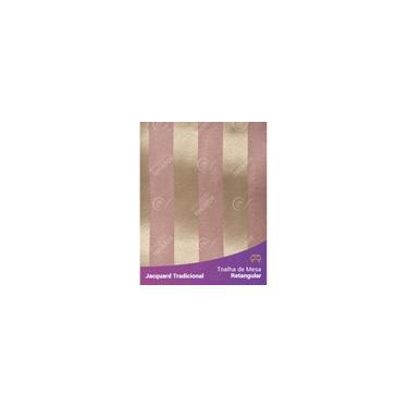 Imagem de Toalha De Mesa Retangular Em Tecido Jacquard Rosa Envelhecido E Dourado Listrado Tradicional