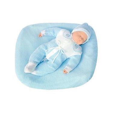 Saída de Maternidade Tamine 3 Peças Tricô Especial Azul Bebê