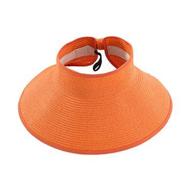 Romacci Chapéu de praia feminino de aba larga com viseira de sol UV FPS 50+, Laranja, tamanho �nico