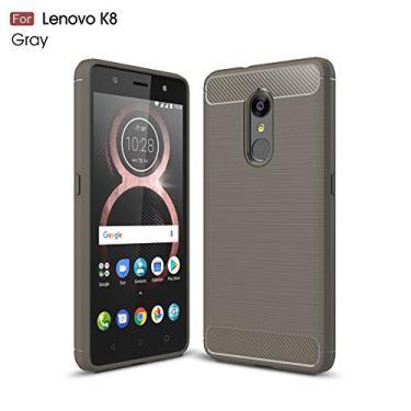 Capa para Lenovo K8 Capa traseira de fibra de carbono ultrafina TPU cinza