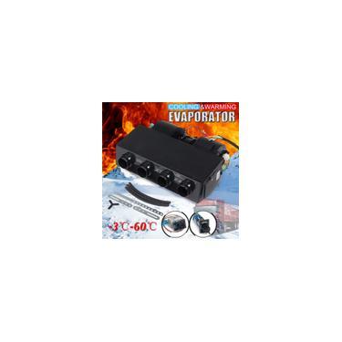 12 / 24V 3800rpm Universal Car Under-dash 4-Port Aquecimento e Resfriamento Evaporador Ar Condicionado de Carro Com Interruptor de Controle de Temperatura