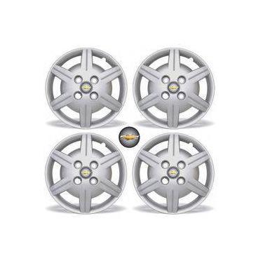 Jogo Calota Aro 13 Corsa Classic 2009 Chevrolet Grid 4 Peças + Emblema Resinado