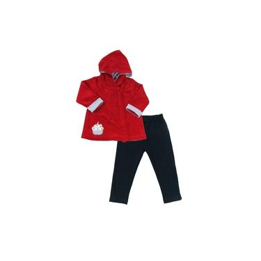 Conjunto Infantil Bebê Primeiros Passos Menina Casaco Em Plush Capuz Vermelho Legging Malha Sweet Girl - Piu Piu