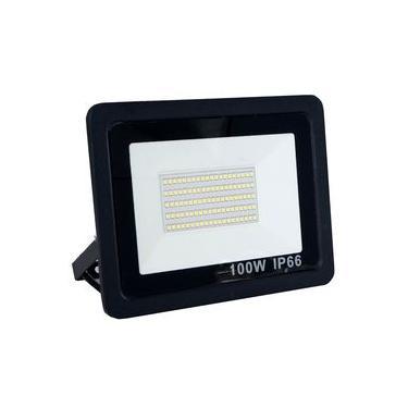 Refletor Holofote Led 100w Super Slim IP66 Branco Frio Bivolt _ Preto - Arco Íris Led