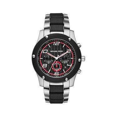 05bed40a99db4 Relógio Masculino Michael Kors Caine Chronograph Stainless Steel   Black  Rubber Black Dial - Modelo Mkors