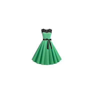 Vestido Midi Renda Feminina Sem Manga Festa Noiva Casamento Formatura Cor Verde Claro Tamanho xxg