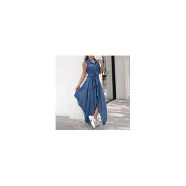 Vonda verão feminino com gola virada para baixo vestido sem mangas vestido casual com auto-gravata na cintura vestido irregular vestido de férias plus size Azul claro L